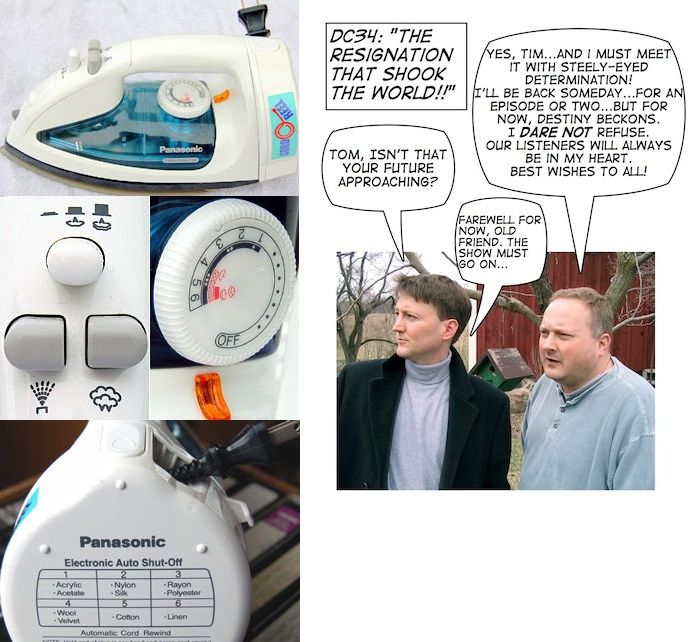 Montage of user interface photos of the Panasonic iron, plus Tim and Tom farewell comic.
