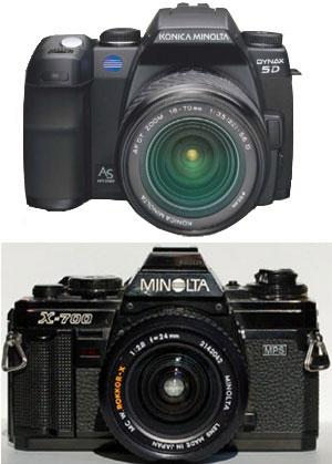Photos of Minolta digital SLR and old manual X-700