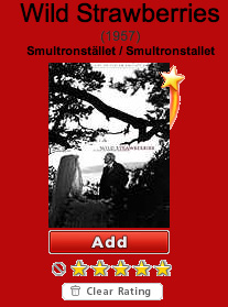 "Screenshot of the Netflix rating for the classic Bergman film ""Wild Strawberries"" (that has an avg rating of 5 stars."