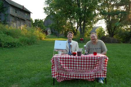 Photo of Tim and Tom in the back yard of the original Country Squire Studio
