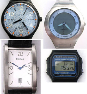 Photo of four wristwatches discussed in episode.