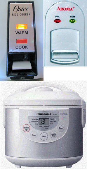 Photo montage of rice cooker user interfaces