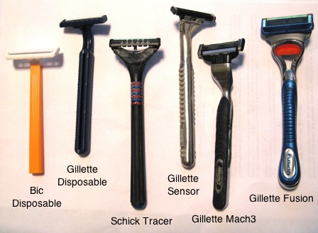 Photo of many shaving razors.